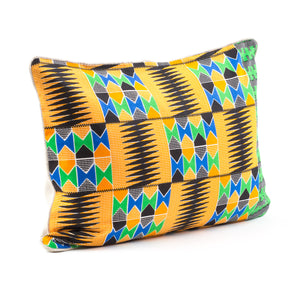 Kente/Printed/Cotton/Ghana/Africa/Scatter/Cushion/Mustard/Yellow/Green/Blue/Black/Pattern/Side/