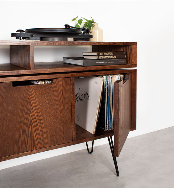 Solid ash record player stand