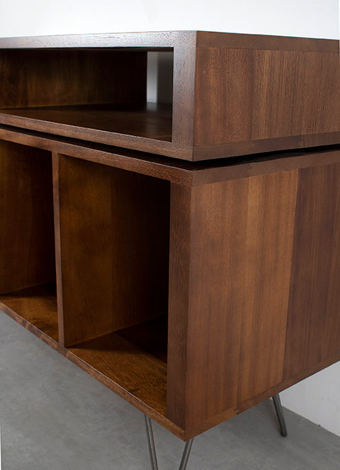 teak stain record player stand