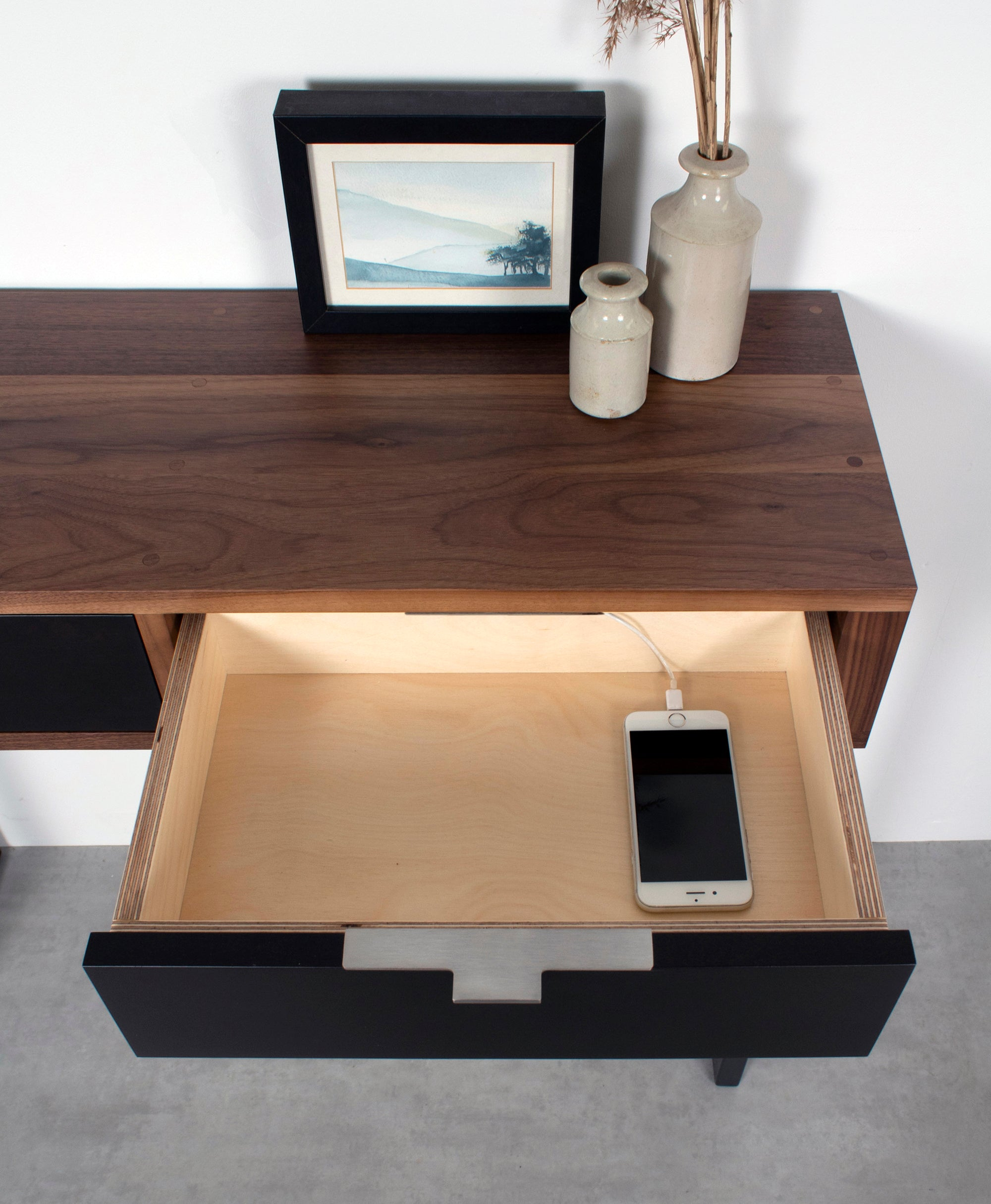 Walnut desk with drawers for chargers