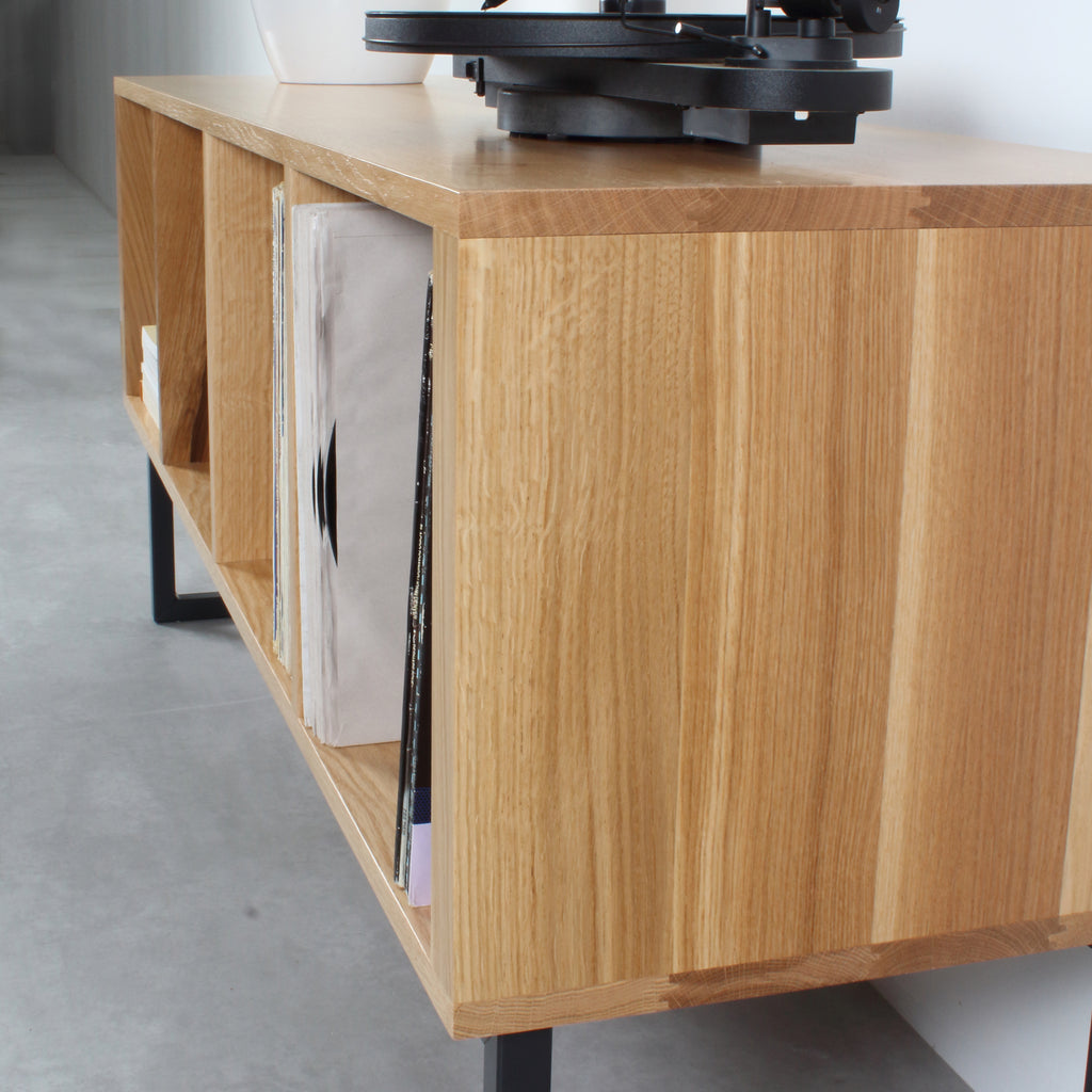 oak record player stand