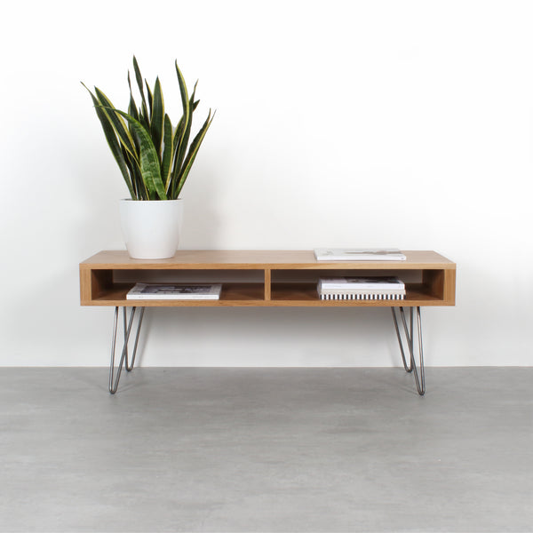 Darwen Solid Wood Coffee Table On Mid Century Hairpin Legs