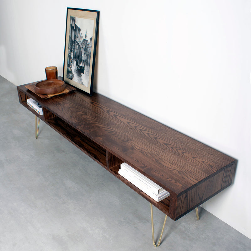 Marston Wide Coffee Table on Mid Century Hairpin Legs