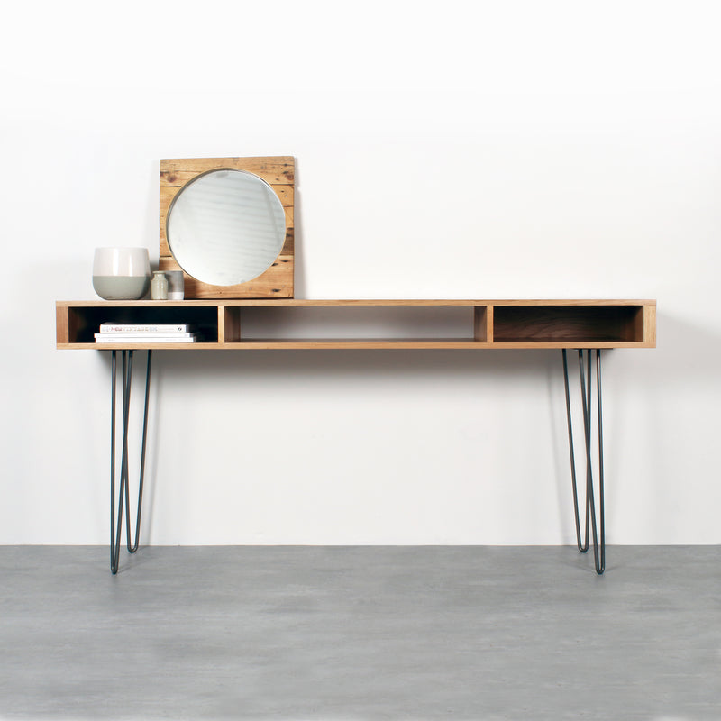 Marston Wide Console Table on Mid Century Hairpin Legs