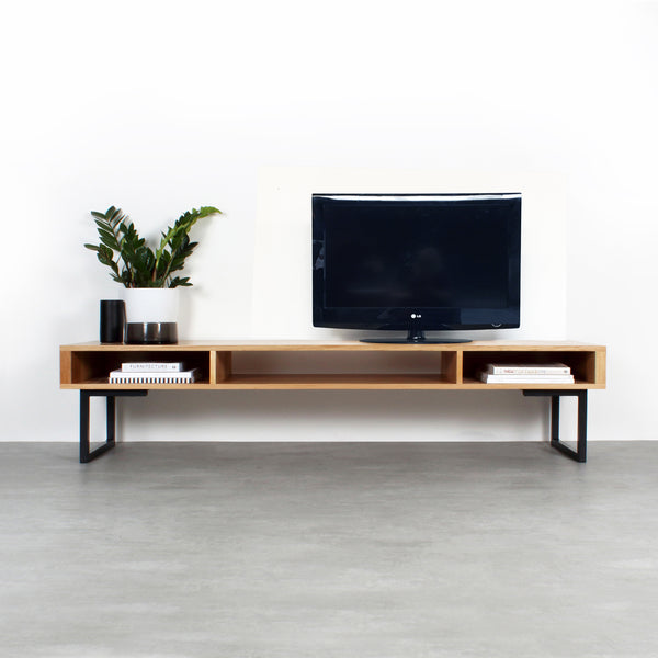 Marston Wide TV Stand on Minimalist Square Legs