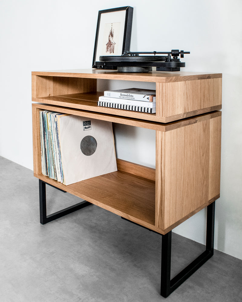 Stack Record Player Stand on Minimalist Square Legs