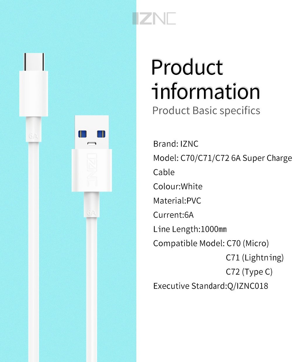 6A Super Fast Charging Cable USB Apple / Type-C - Latest Living