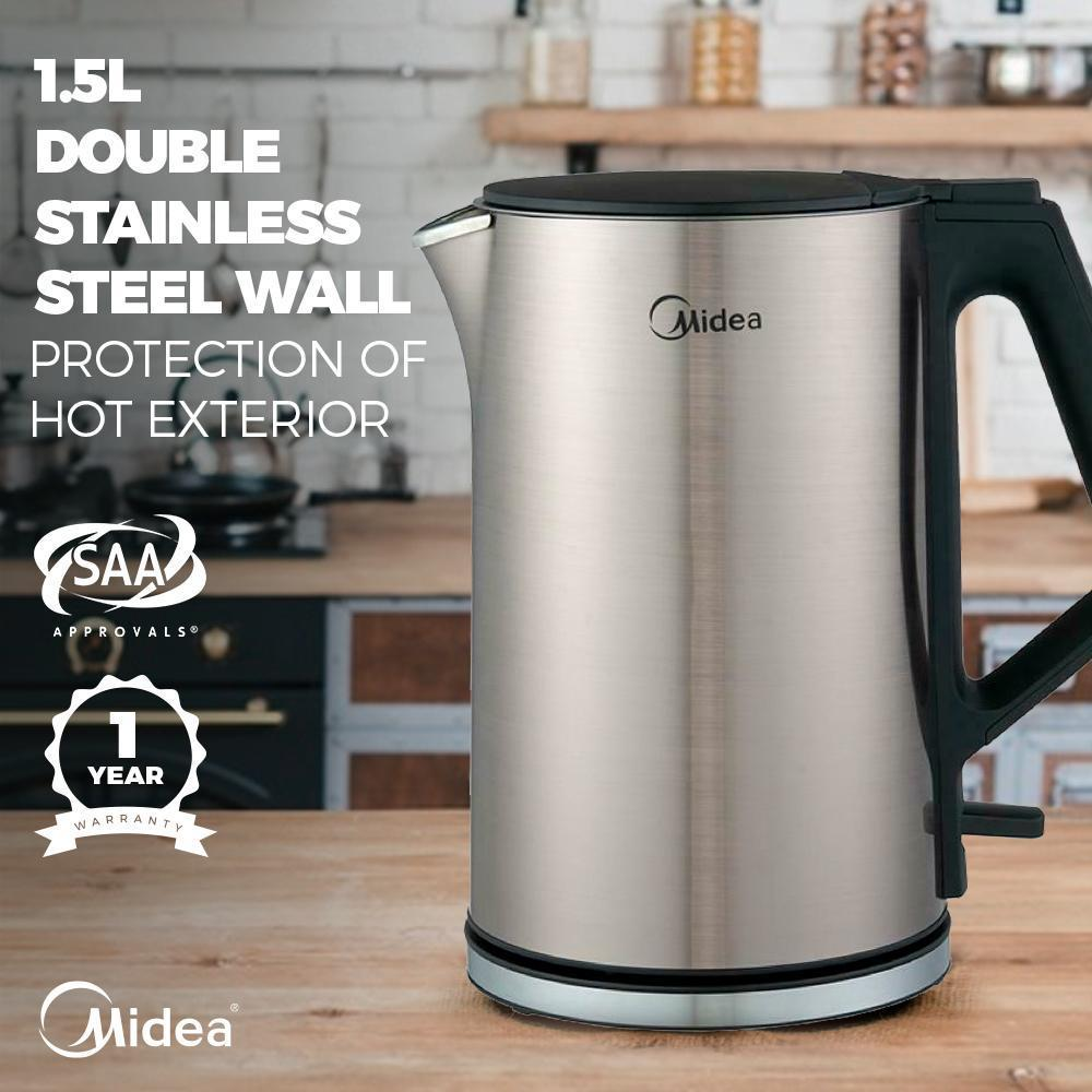 Midea MK-15H01B Double Wall Stainless Steel Kettle 1.5L - Latest Living
