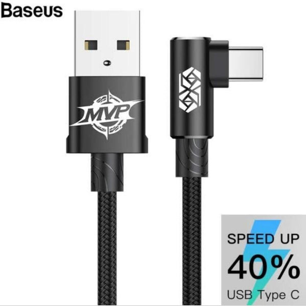 Baseus MVP Elbow Type Cable USB 1.5A 2M Black(TypeC/IP) - Latest Living