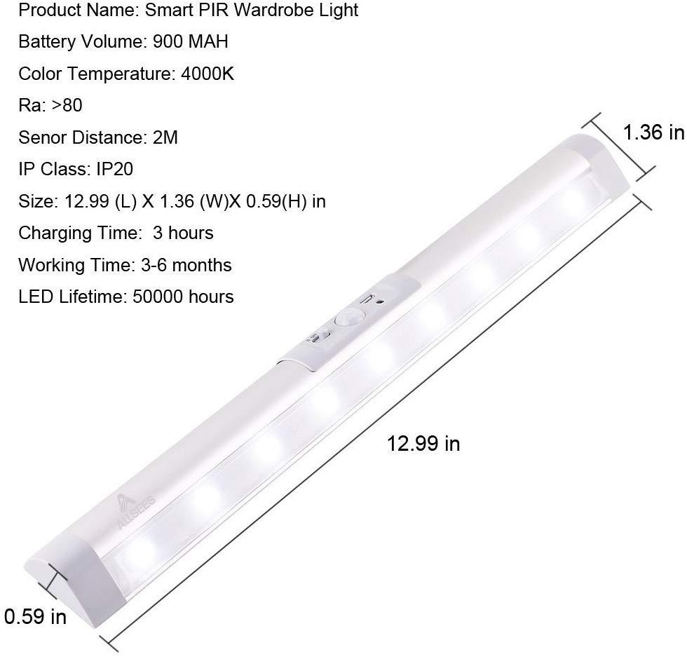 Allsees Cabinet Light Bar rechargeable, adjustable Sensor and Auto on/off Switch - Latest Living
