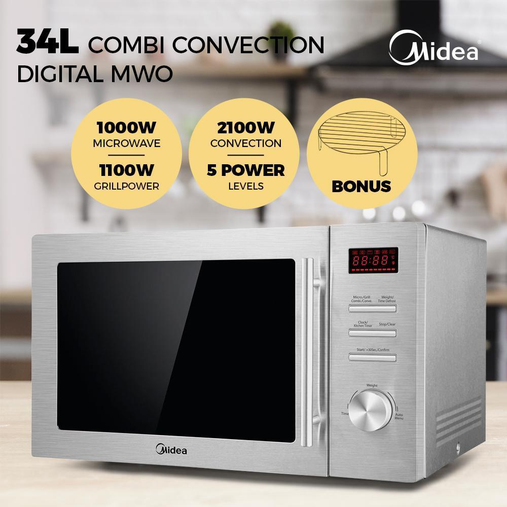 Midea MMW34CS 34L Combi Convection Sliver Digital Microwave Oven - Latest Living