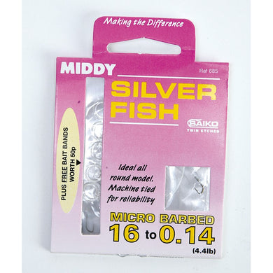 Middy Silver Fish Hooks To Nylon