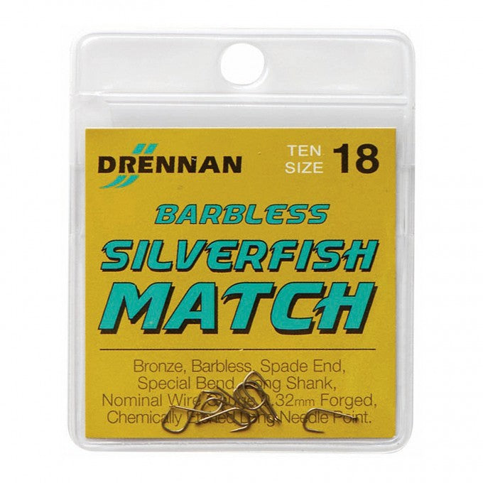 Drennan Silverfish Match Hooks Barbless