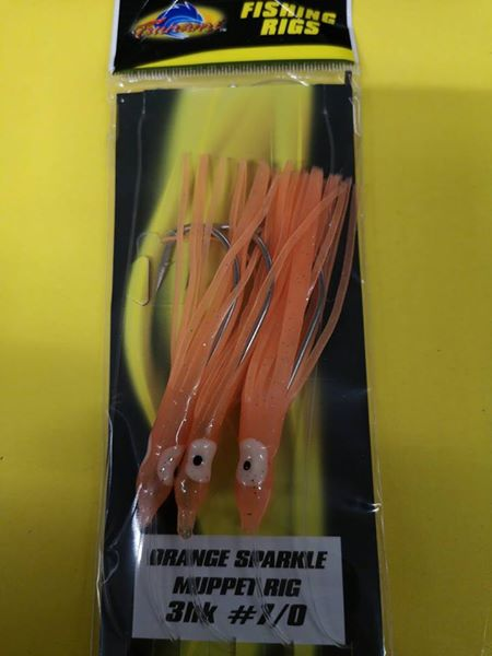 5 x Tsunami Orange Sparkle Muppet Rig 7/0