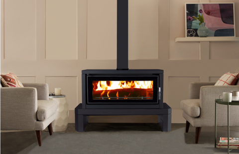 Kent Fairlight Free Standing Wood Heater - Metallic Black