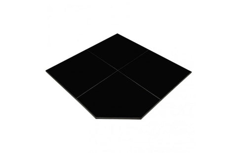 FULL SLAB, CORNER 1.2M STONE HEARTH IN BLACK