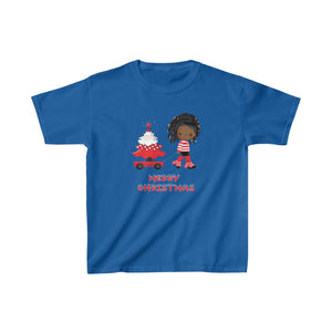Kid's African American Girl  Merry Christmas T-shirt