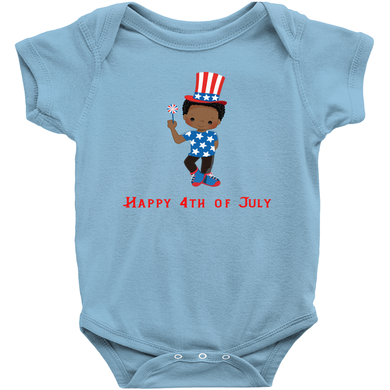 African American Fourth of July Baby Boy Bodysuit