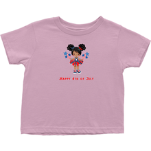 Toddler Afro Puff (Black Hair) Fourth of July T-shirt