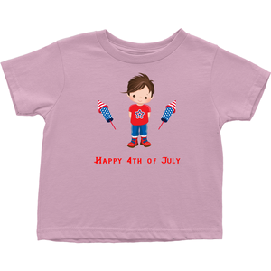 Toddler Brown Hair Fourth of July T-shirt