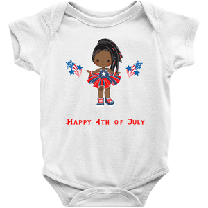 African American Braided Hair Fourth of July Baby Bodysuit