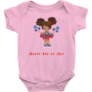 African American Auburn Hair Fourth of July Baby Bodysuit