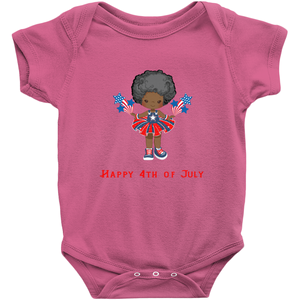 African American Afro Fourth of July Baby Bodysuit