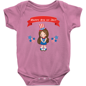 Brunette Fourth of July Baby Bodysuit