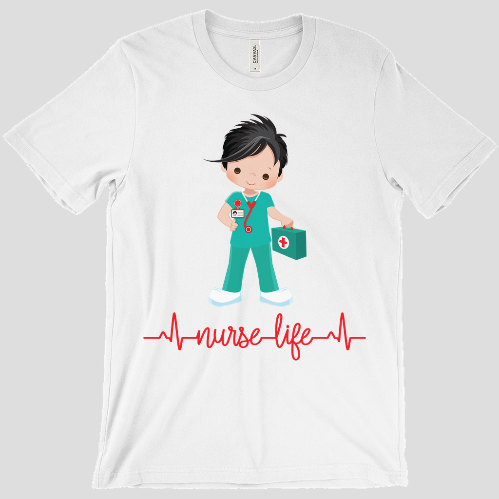 Black Hair Male Nurse Life T-Shirt
