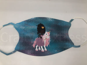 Kid's African American Unicorn Princess Mask