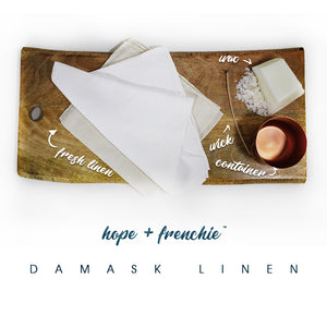 damask linen, Candles, Fresh, Clean + Floral (240g) - hope + frenchie