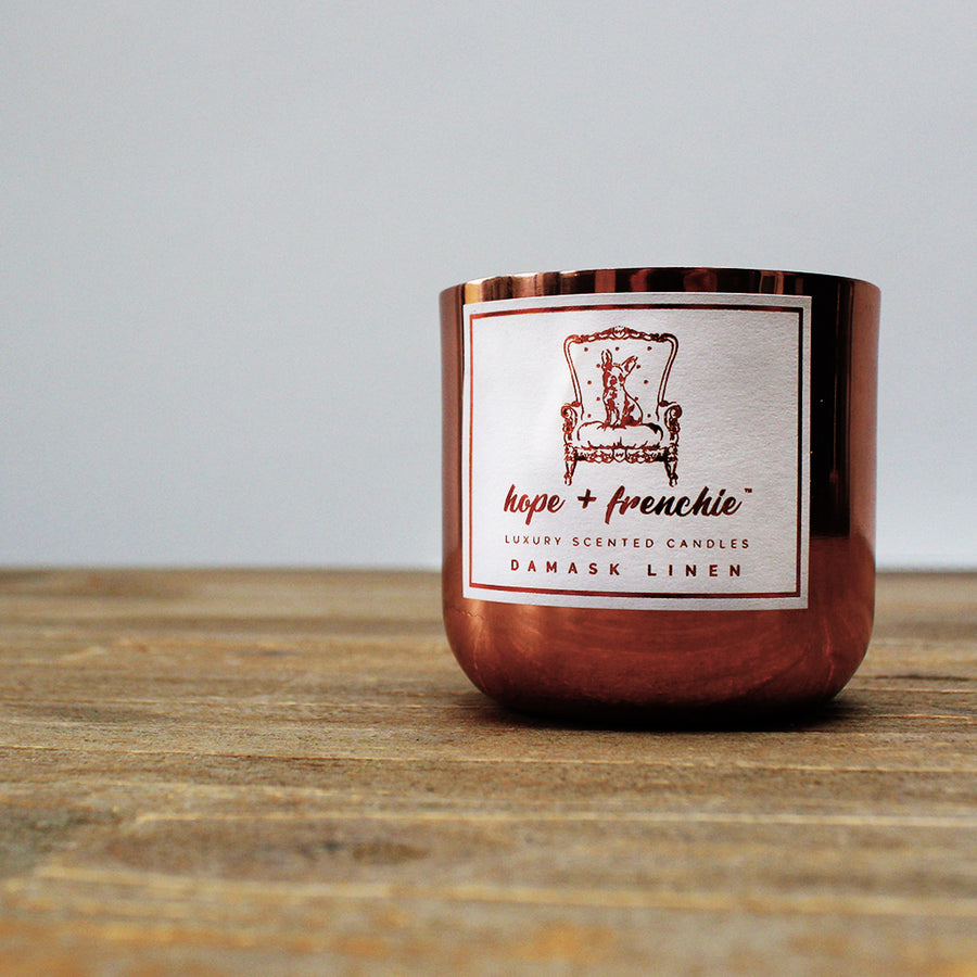 damask linen, Candles, Fresh, Clean + Floral (240g) | Hope + Frenchie