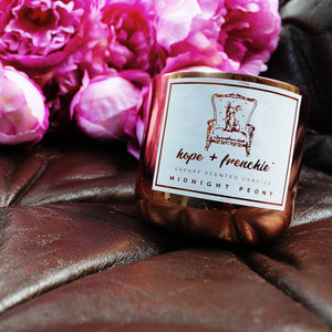 midnight peony, Candles, Fresh Peony + Rich Leather (240g) - hope + frenchie