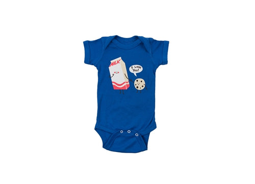 COOKIE LOVES MILK  ONESIE - BLUE