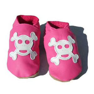 JOLLY ROGER LEATHER BABY SHOES PINK