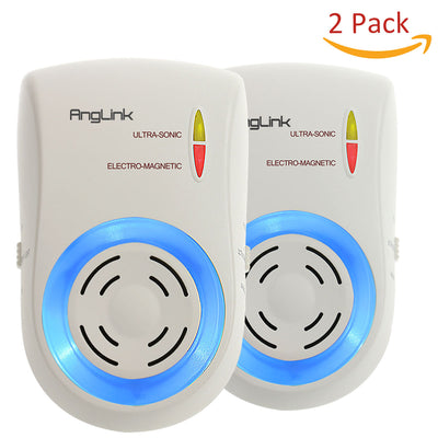 Pest Control Ultrasonic & Electromagnetic Waves Pest Repeller Plug in Pest Repellent Device for Indoor Rodents Mouse Mice Cockroach Flies Roaches Ants Spiders Fleas (Two)