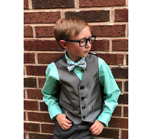 Mommy-And-Me-Mothers-Day-Sweet-Son-Bow-Tie-Boy-Pose-Look-Right-Hands-In-Belt-Loops