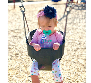 Playful-Navy-Bubblegum-Floral-Headband-Girl-Pose-Park-Swing