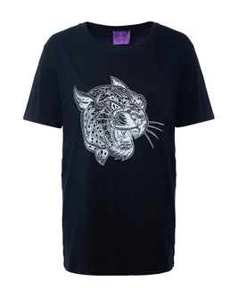 Crazy Leopard Silver-Black T-Shirt