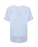 Oversized T-Shirt damen damen-T-Shirt Shirt Kurzarmshirt stylisch stylish lässig understatement Kleidung Sommer Sommer-Shirt leopard white weiß silber silver siebdruck design ton in ton druck basic understatement organic bio biologisch cotton quality sustainable nachhaltig women