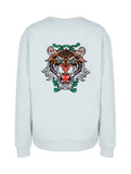 Oversize Tiger Sweatshirt Men Babyblue