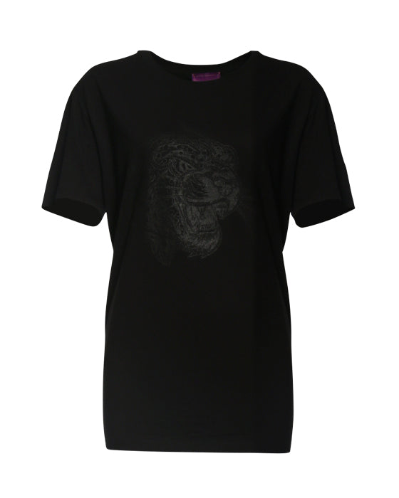 Oversized T-Shirt herren men unisex herren-T-Shirt Shirt Kurzarmshirt stylisch stylish lässig understatement Kleidung Sommer Sommer-Shirt leopard leo schwarz siebdruck design ton in ton druck basic understatement organic bio biologisch nachhaltig sustainable quality black