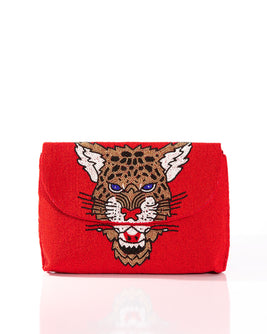 Leopard Clutch Red
