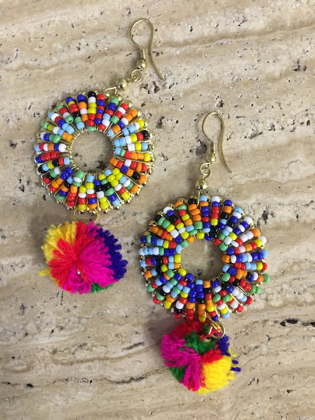 Fashion Costume Imitation Artificial Jewellery Earrings in Gold with Multicolor Beads for Women Girls