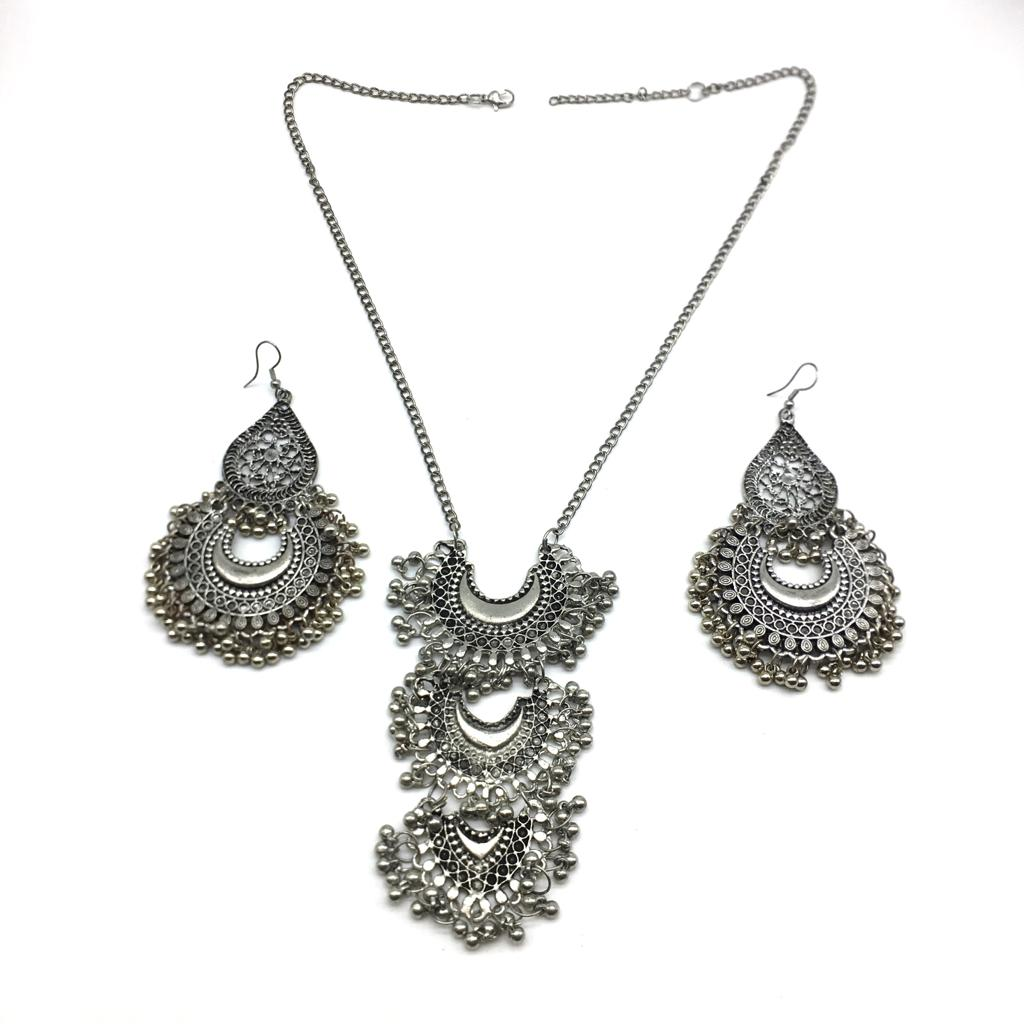 Antique German Silver Plated 3 Layer Chandbali Pendent Chain Necklace Set with Earring - DigitalDressRoom