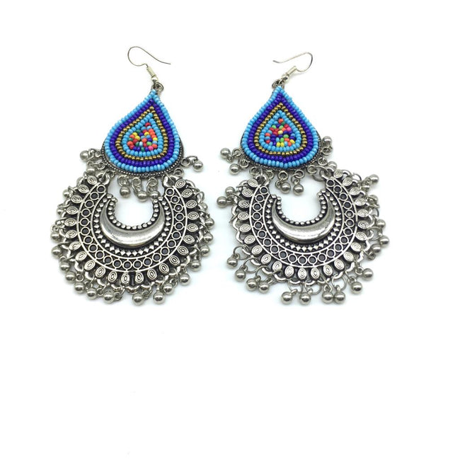 Navratri Earring Traditional Bohemian Antique Metal Kashmir Tribal German Oxidized Afghani Silver Chand Multicolor Beads Work Hook Earrings Ghungroo Chandbali Earring for Women Girl