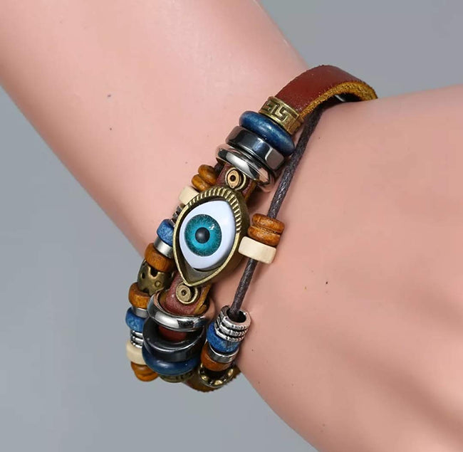 Men Bracelet Accessories Multilayer Handcrafted Brown Leather Charm Wrist Band Multi Strand Women Gift Costume Fashion Artifical Imitation Jewellery