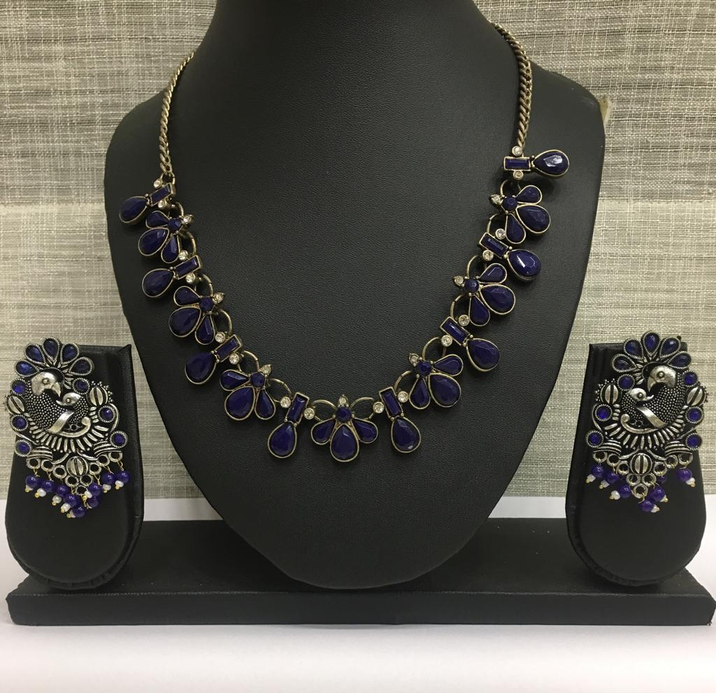 Antique Turkish Style Blue Necklace Set with Bead Stud Peacock Earrings - DigitalDressRoom