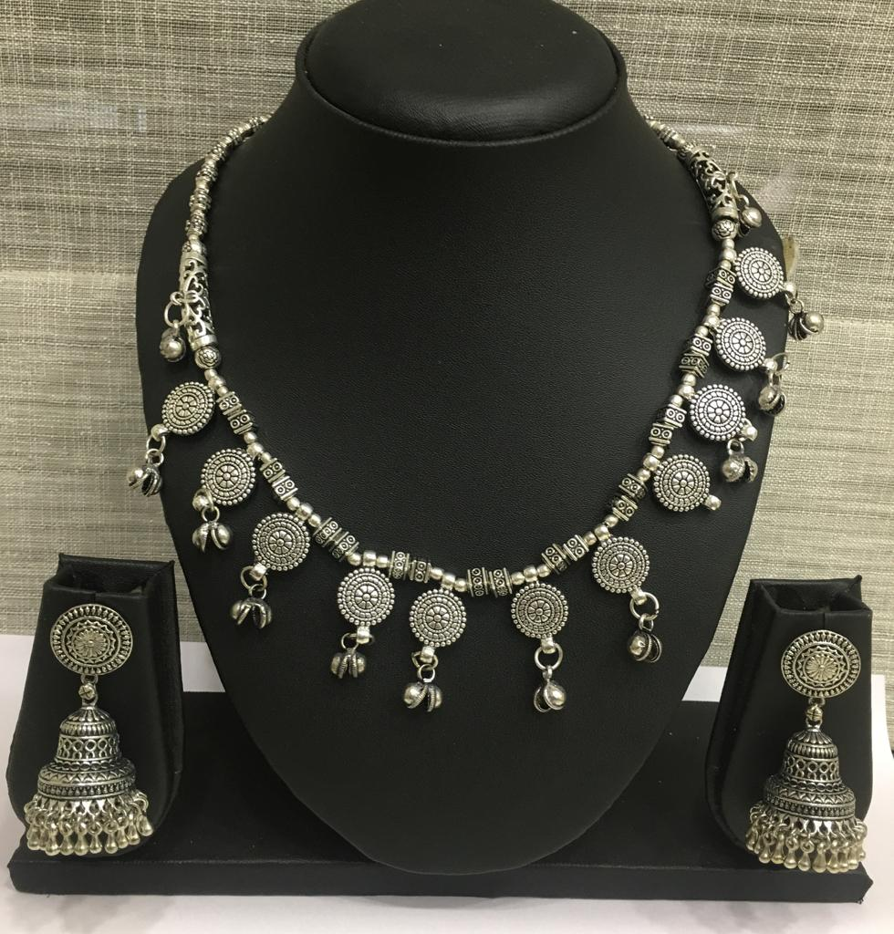 Antique Silver Plated Dancing Beads with Ghungroo Necklace Set with Jhumki