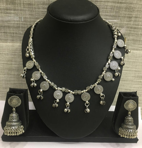 Digital Dress Room Antique Silver Plated Dancing Beads with Ghungroo Necklace Set with Jhumki